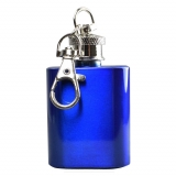 Mini Hip Flask Keyring in Blue