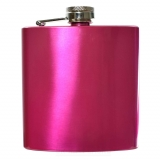 6oz Hot Pink Metallic Hip Flask