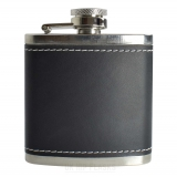 3oz PU Black Leather Hip Flask
