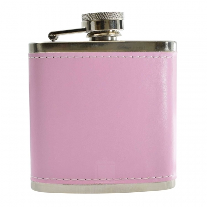 3oz PU Pink Leather Hip Flask