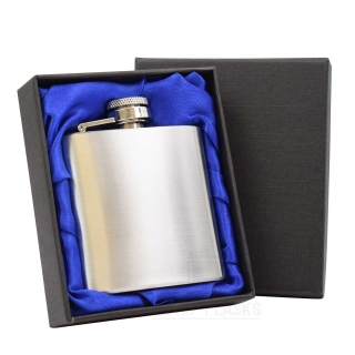 3oz Hip Flask in Gift Box- Blue Silk