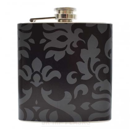 Hip Flask- Black Floral
