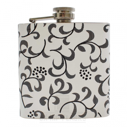 Hip Flask - White Floral