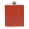PU Leather 7oz Hip Flask - Russet Red