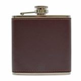 Leather 6oz Flask Dark Brown