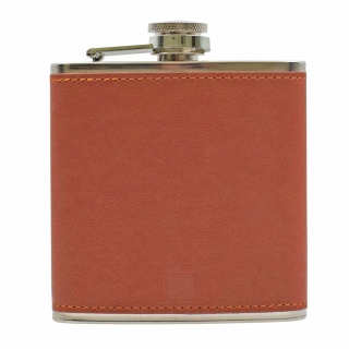 PU Leather 6oz Flask Tan