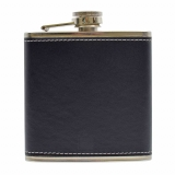 PU Leather 6oz Flask Black