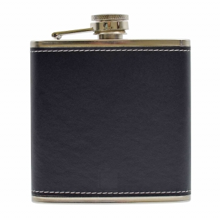 PU Leather 6oz Flask Bl..