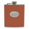 PU Leather 7oz hip flask Tan with oval plate