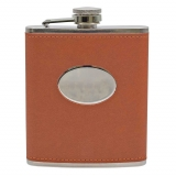 PU Leather 7oz hip flask Tan with oval..