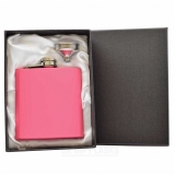 6oz Matt Pink Hip Flask in Gift Box