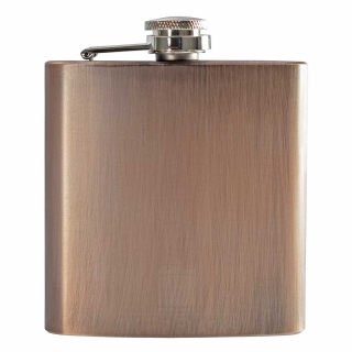 6oz Brushed Brown Hip Flask