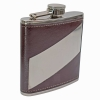 6oz PU Leather Stripe Hip Flask