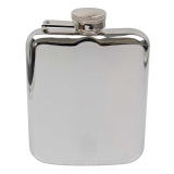 6oz Shiny Hip Flask - Silver