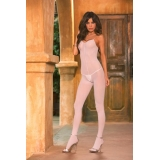 White opaque bodystocking spaghetti st..