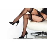 Sheer Stockings Black Red or White - C..