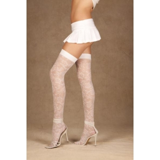 White Floral Patterned Lace Thigh Hi S..