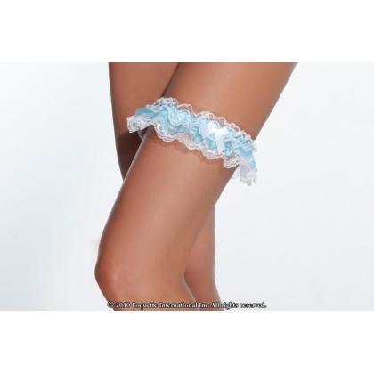 Coquette Garter Black, White & Blue or Red garters