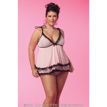 Plus Size Coquette Babydoll pink and black CQ3380