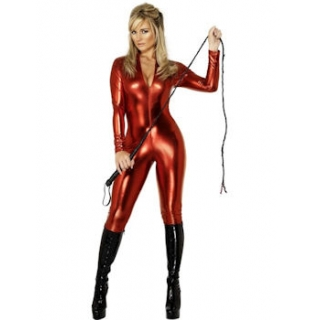 Red Wet Look Catsuit Fe..