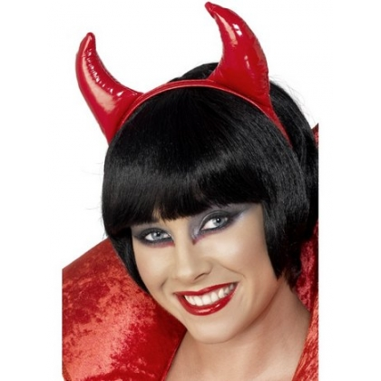 Devil horns red pvc headband