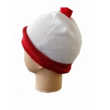 Red and white hat with pom-pom