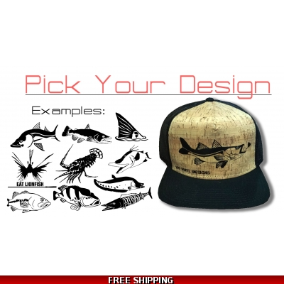 Cork/Black Flat Bill Hat - Any Design