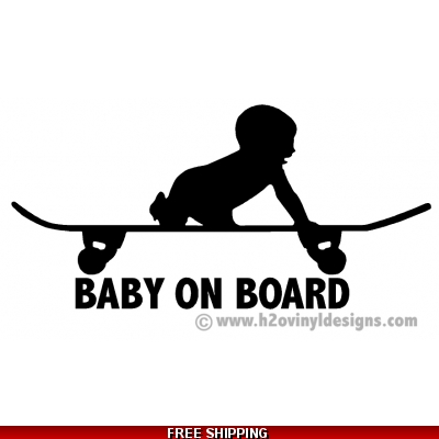 Baby On Board - Skate - Vinyl Sticker