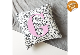 Regina alphabet cushion cover - hot pink
