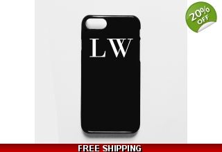 Black phone case with white monogram