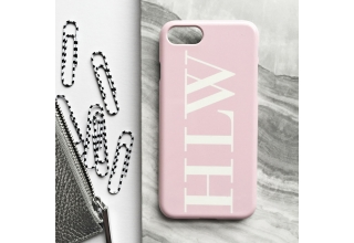 Soft pink monogram phone case - Large white initials