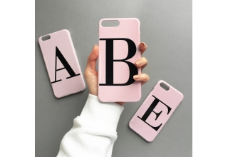 Dusty pink single letter alphabet personalised phone case