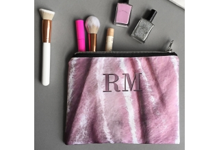 Pink crushed velvet print monogram zipper pouch