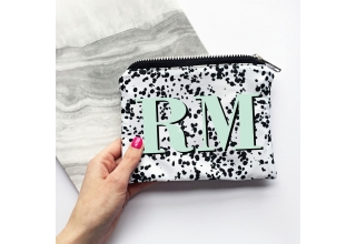 Speckle print & mint green monogram make up zipper pouch