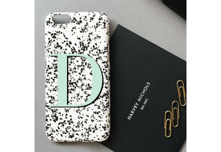 Speckle and mint green alphabet phone case