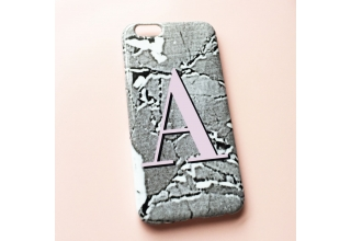 Concrete-Luxe alphabet phone case - Pink Monogram