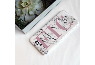 Monogram Marble print phone case - large dusty pink initials