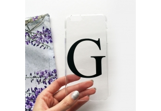 Clear and black alphabet phone case