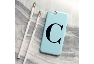 Pastel blue alphabet phone case