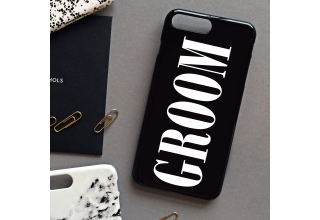Glossy black Groom Wedding day phone case