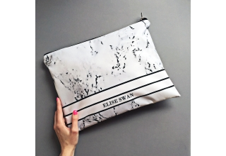 Marble sports-luxe striped monogram large zipper pouch
