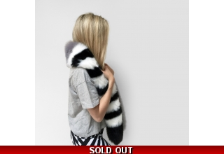 Grey and striped faux fur long line scarf