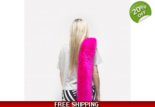 Hot Pink faux fur long line scarf