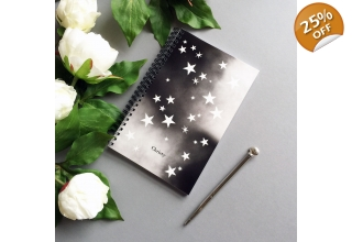 Star print monogram notebook