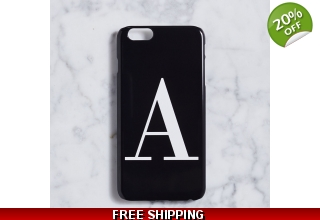 Glossy black & white alphabet phone case