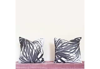 Black and White palm leaf cushion cover