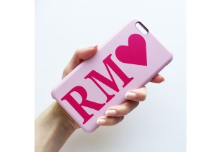 hot pink & baby pink monogram pu leather phone case