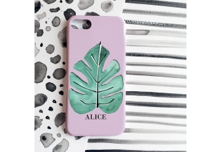 Tropical single leaf monogram phone case