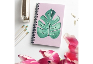 Tropical single leaf print notebook