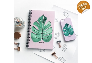 Tropical single leaf print monogram notebook